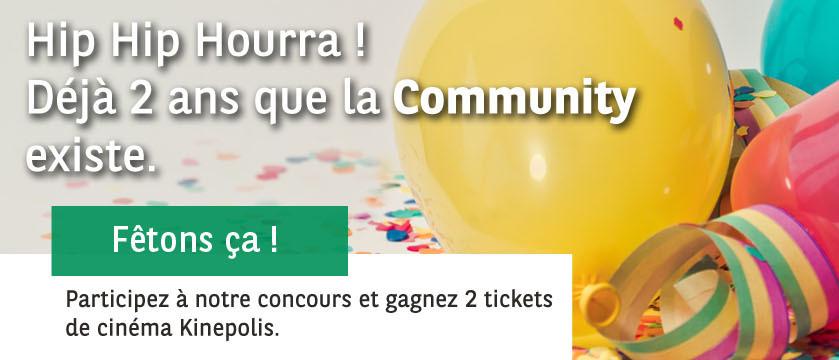 Fêtez les 2 ans de la Community avec nous et gagnez deux tickets de cinéma