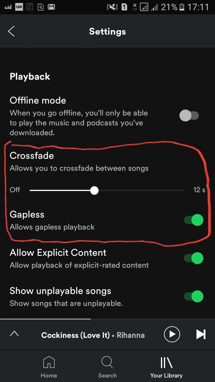 crossfade between songs