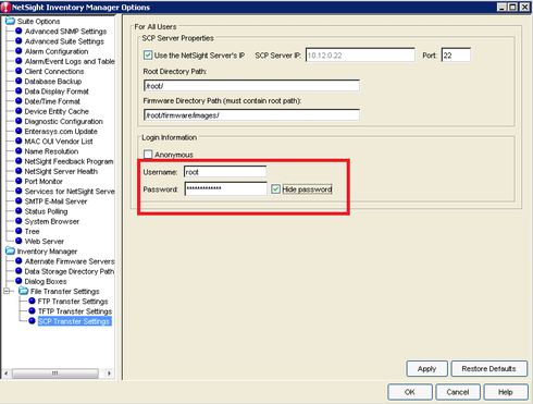 Netsight Inventory Manager FTP / SCP Server | Extreme