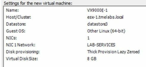 Vx9000e total disk space required when setting up | Extreme