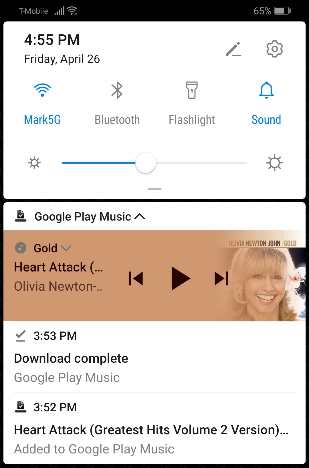 Downloading song from Google Play Music to assign as ringtone on P30