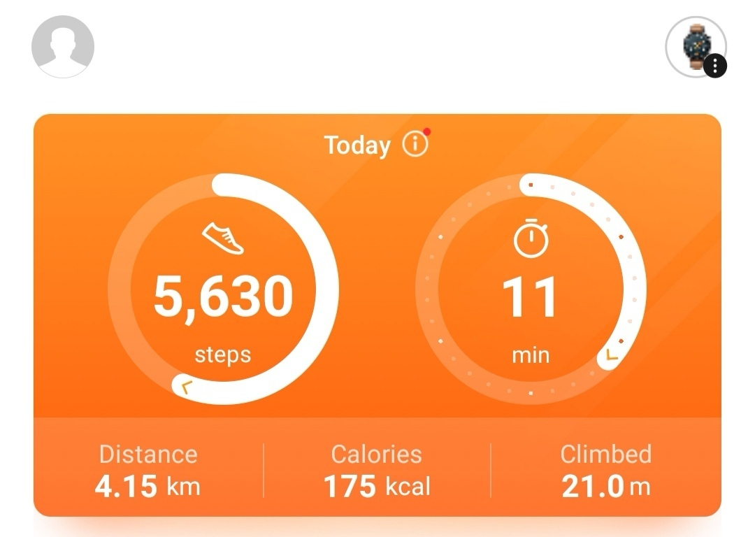 Huawei Health - Counting steps from phone and watch