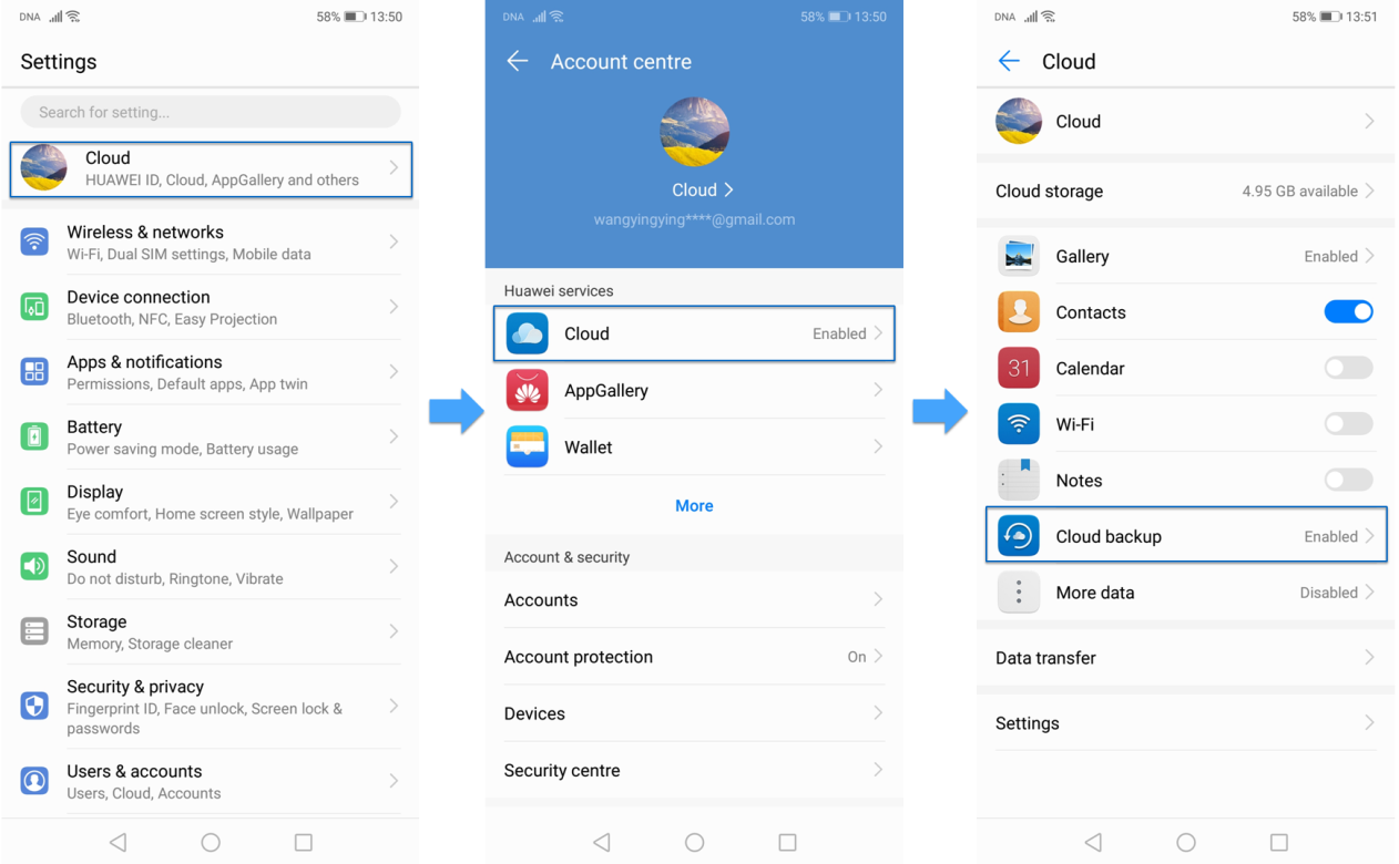 How to use the Cloud Backup function   Official Huawei
