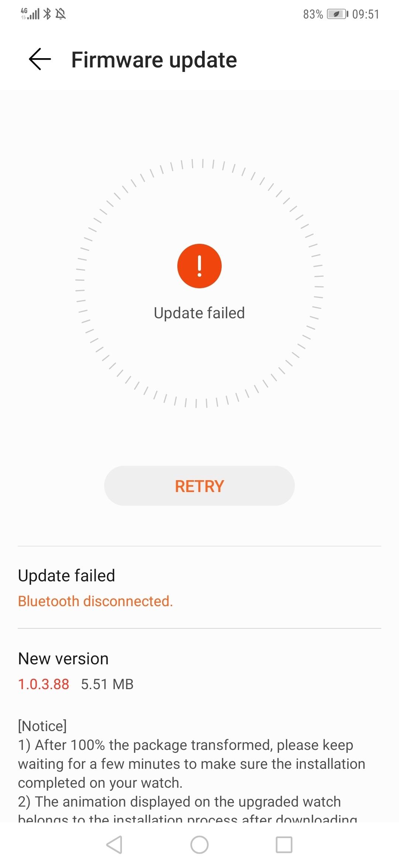 Watch GT Update 1 0 5 22 failed | Official Huawei Community UK