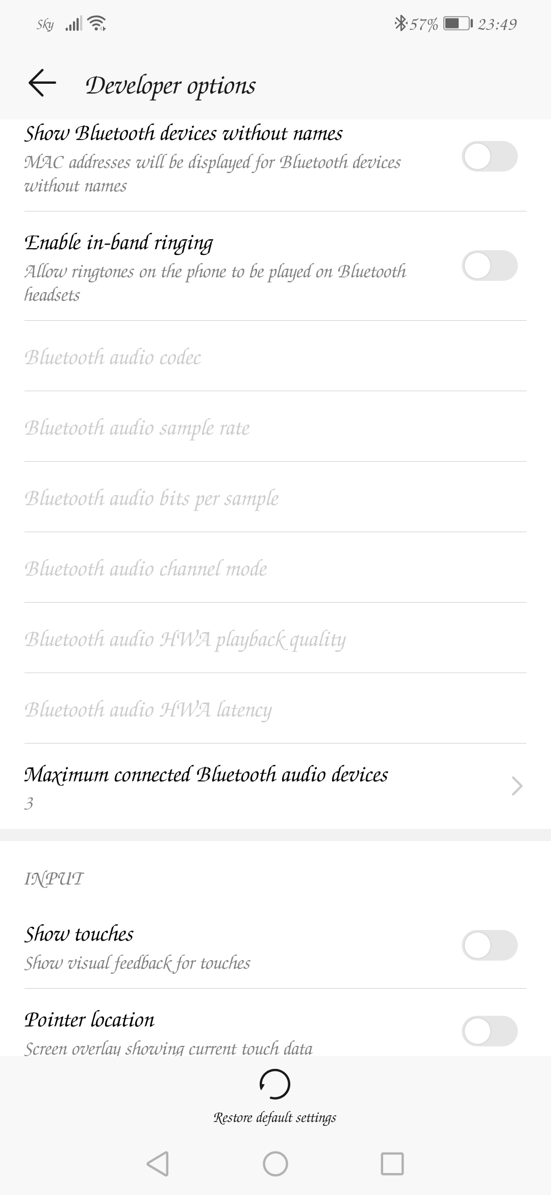Disable absolute volume in developer mode is missing