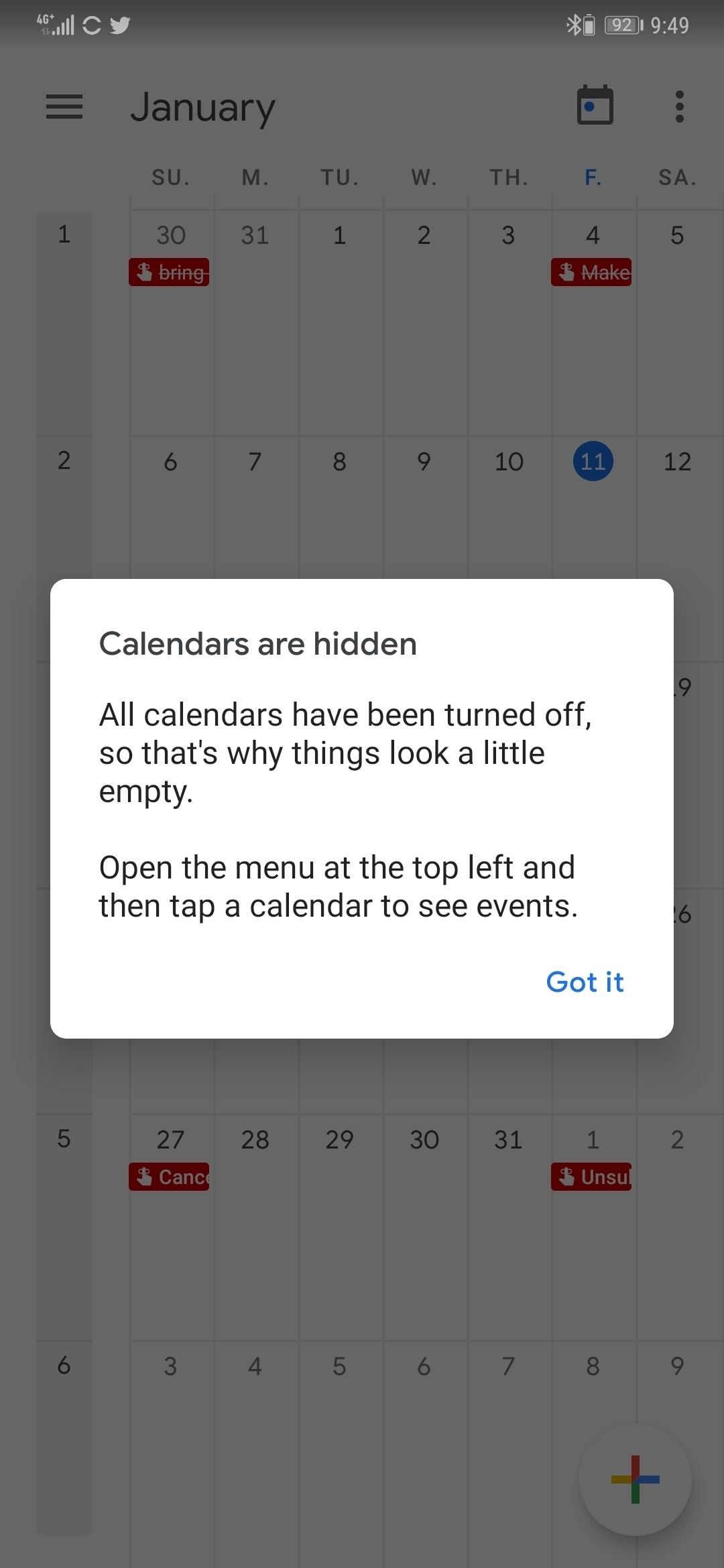 Calendar account gone missing intermittently  | Official