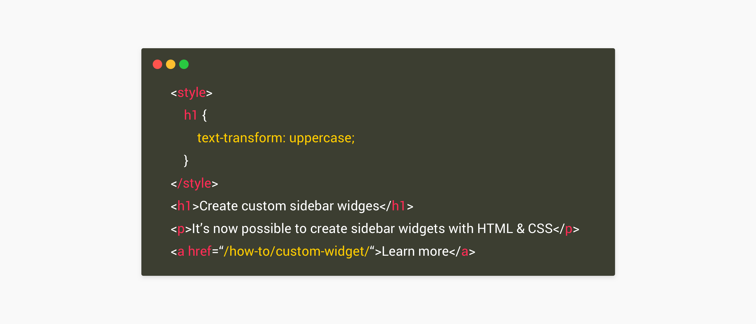 Create your own sidebar widget from scratch