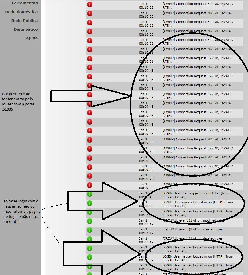 Como restaurar acessos RootUser e permissões num router TG784n (10 2