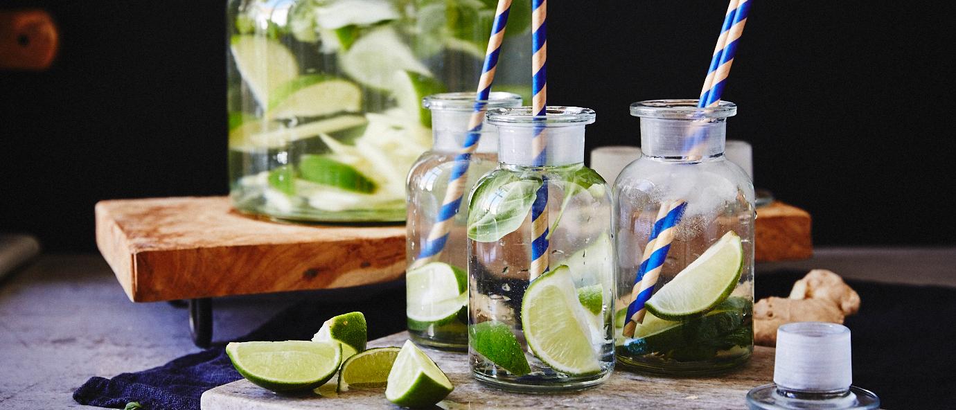Vier varianten smaakwater