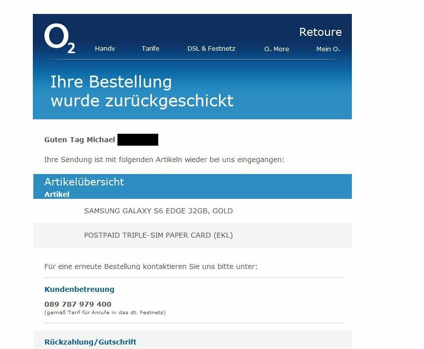 Beschwerde O2 Email