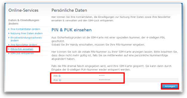 Neue Sim Karte O2.Pin And Puk O Community