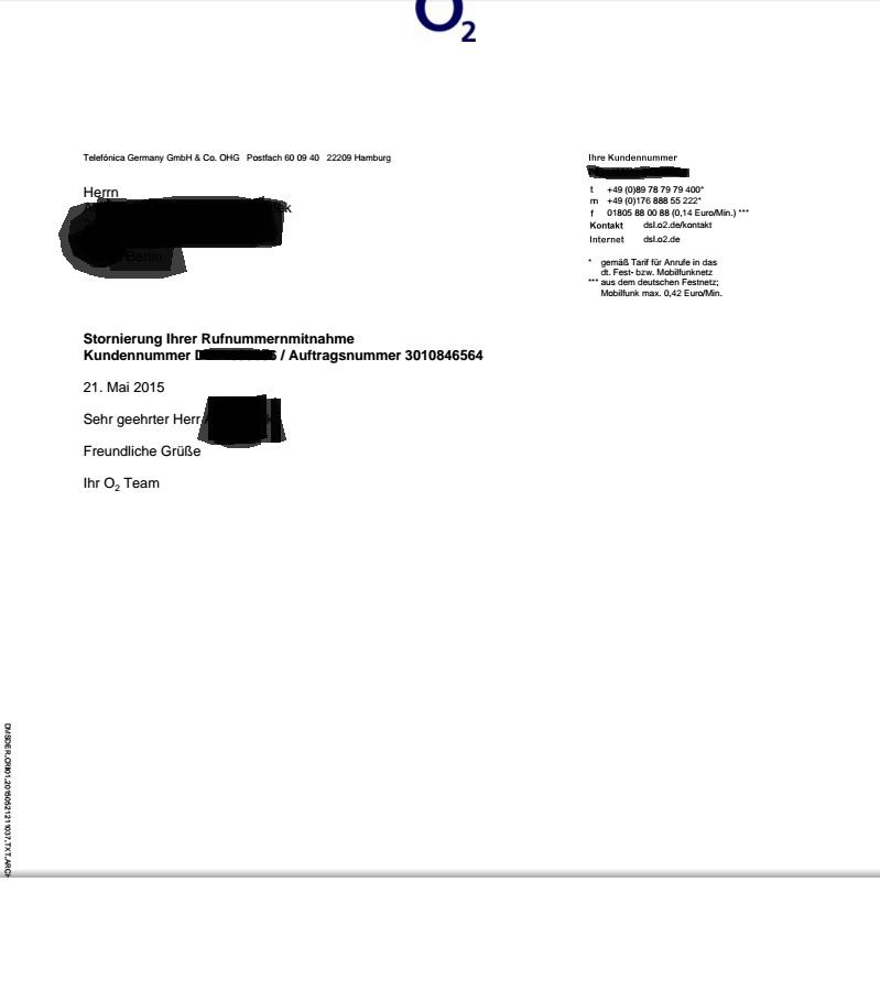 Storno Rufnummerportierung Storno Kündigung O₂ Community