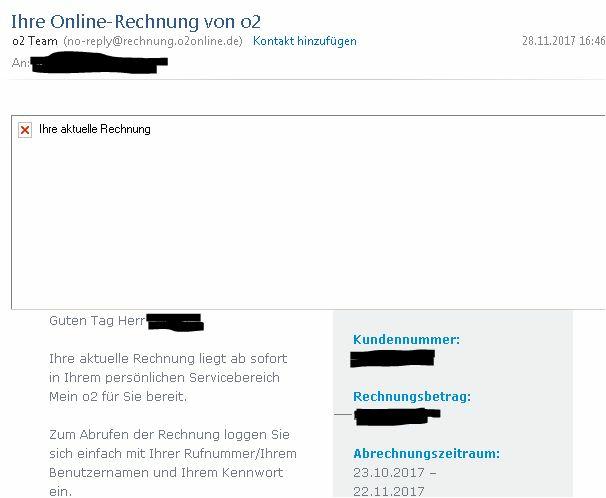 Email Rechnungsbenachrichtigung O₂ Community