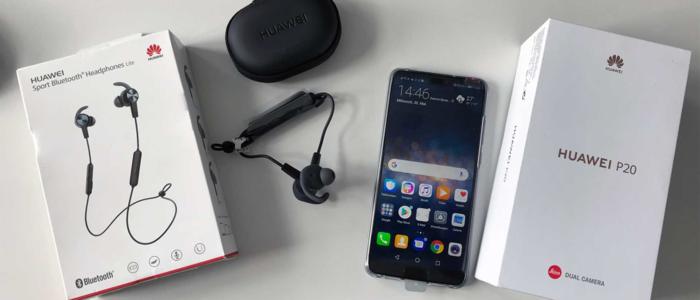 Testgerät Huawei P20 mit Huawei BT Headphones