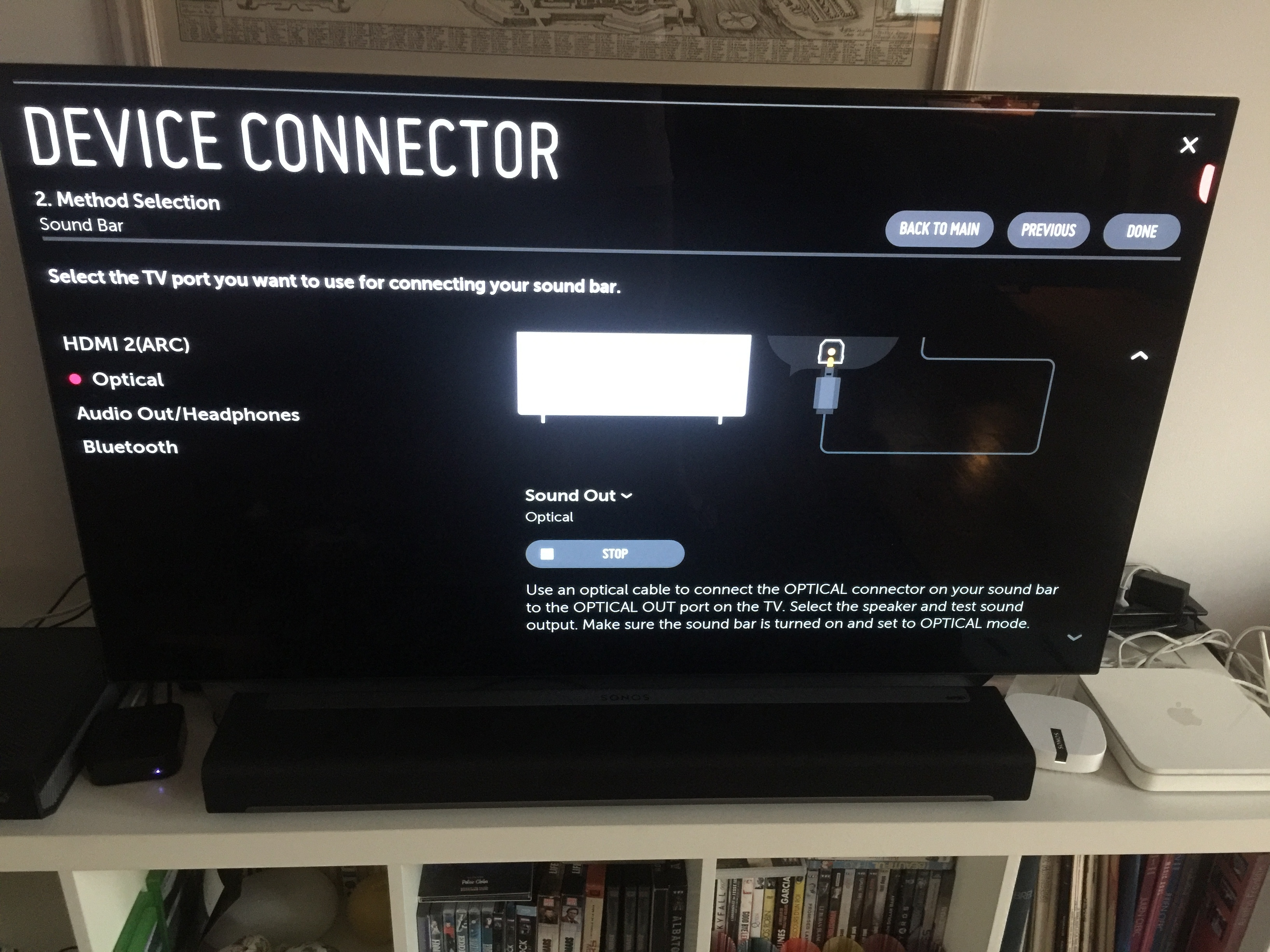 How to connect Sonos Playbar with LG OLED 55C8PLA and LG MAGIC