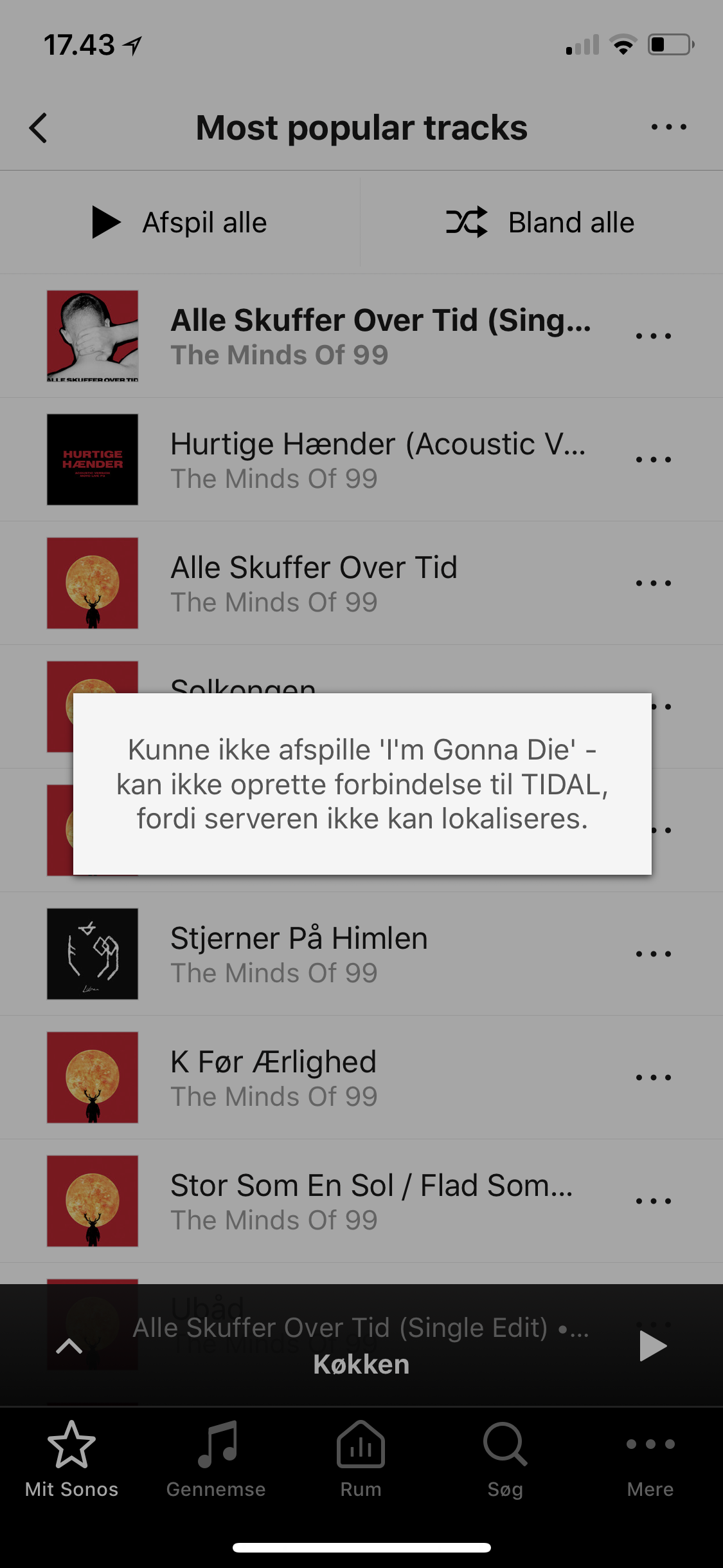 """Can't connect to Tidal: """"The server cannot be localised"""