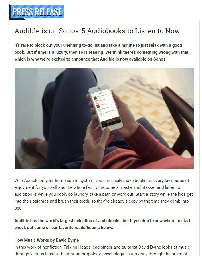 Important Information for Audible Listeners | Sonos Community