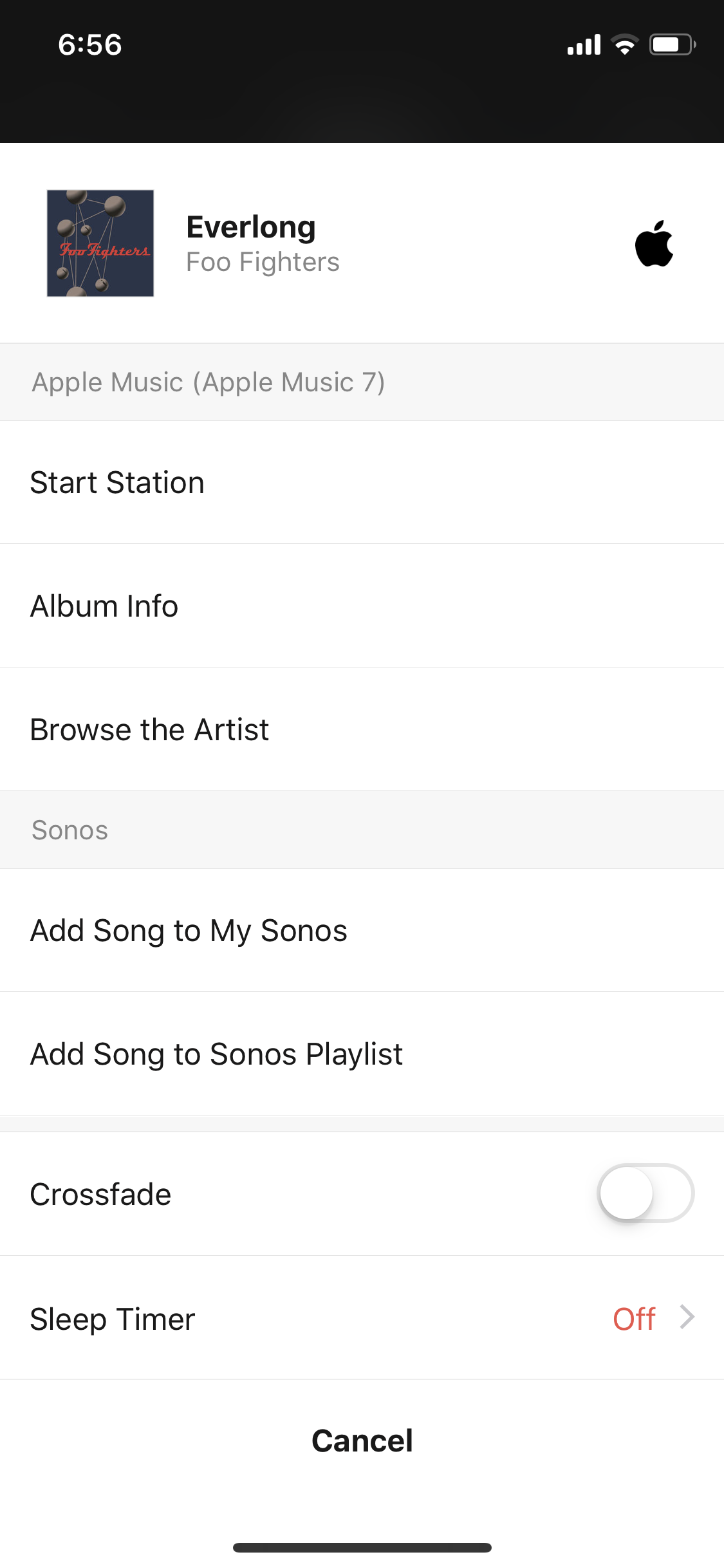 Create playlist from song you are currently listening to on Apple
