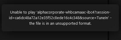 TuneIn Unsupported Format Error | Sonos Community