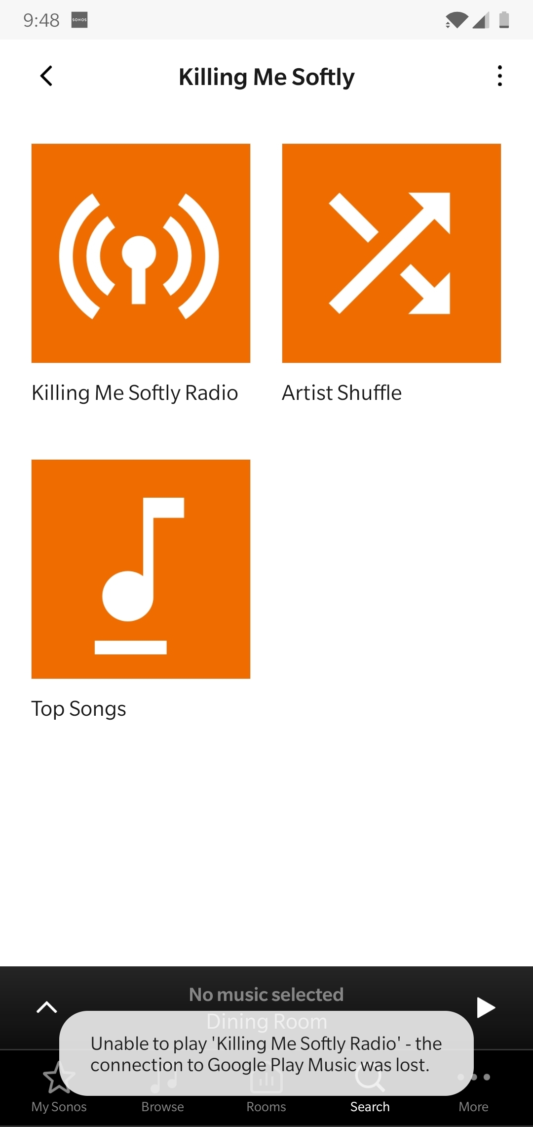 Sonos Android App - Connect to Google Play music was lost