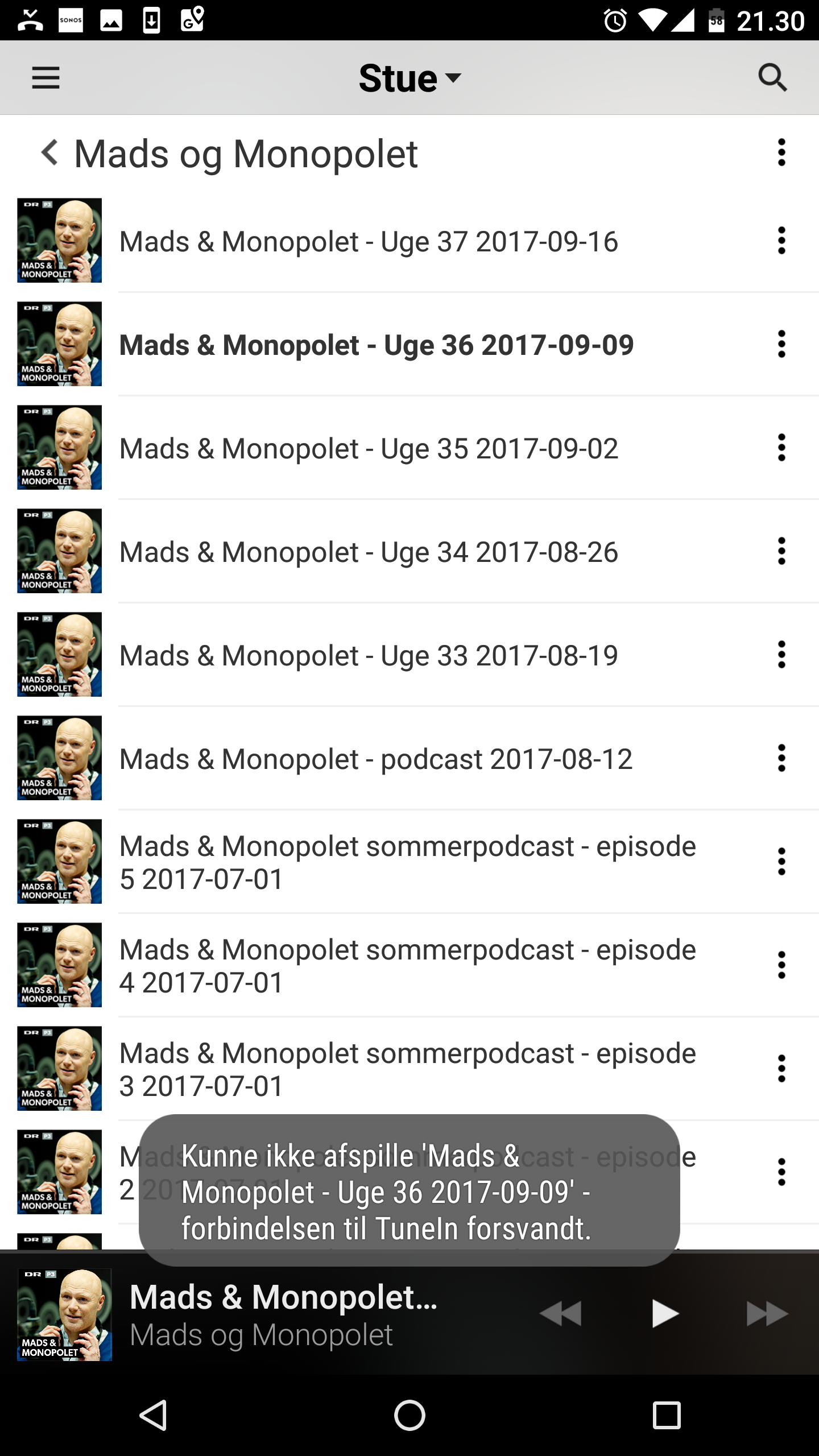 Podcasts from Danish Radio (DR) not playing (the connection