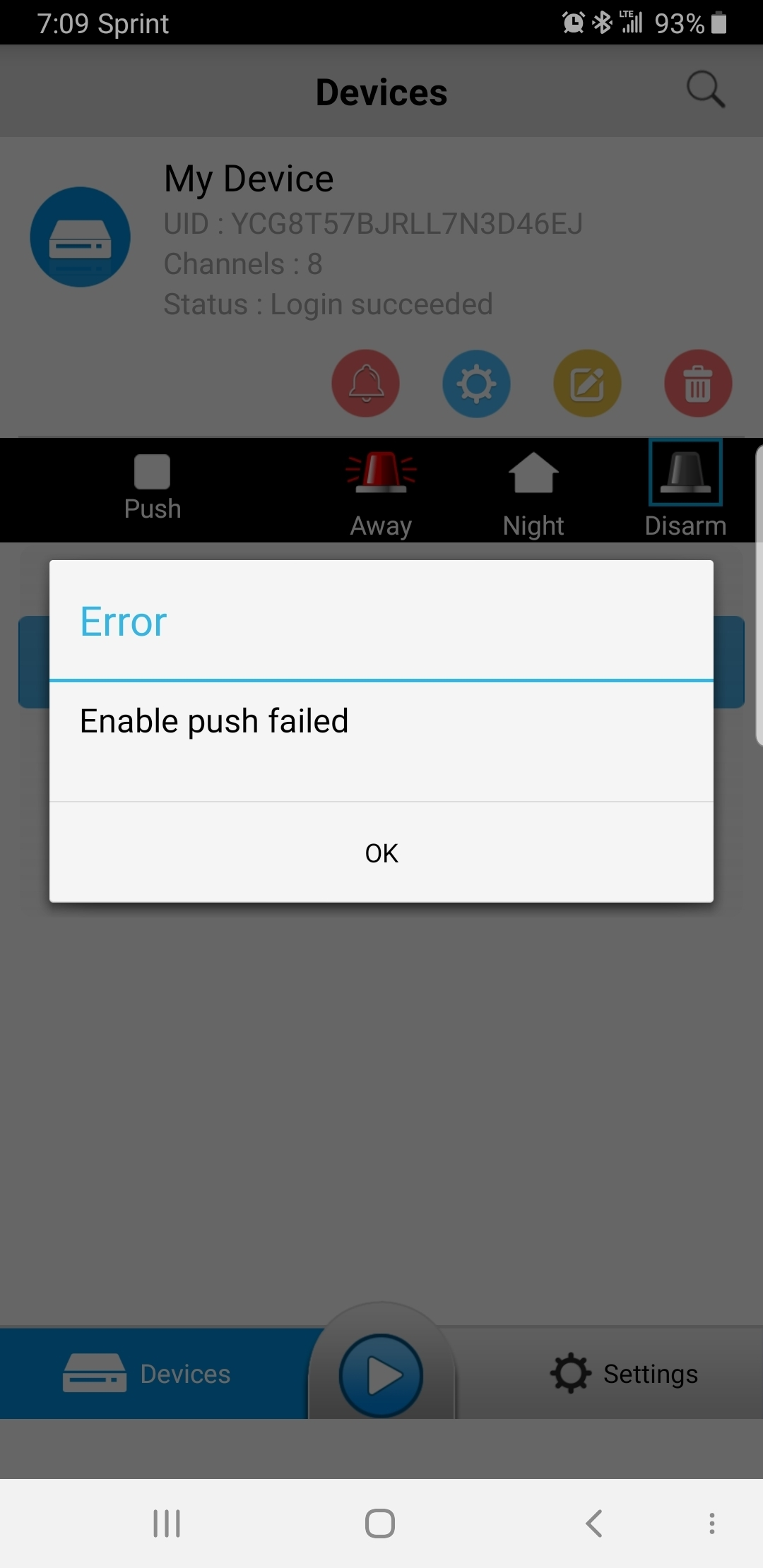 Unable to activate Push notification on my android phone