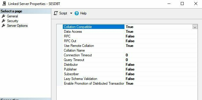 Linked server properties rpc out