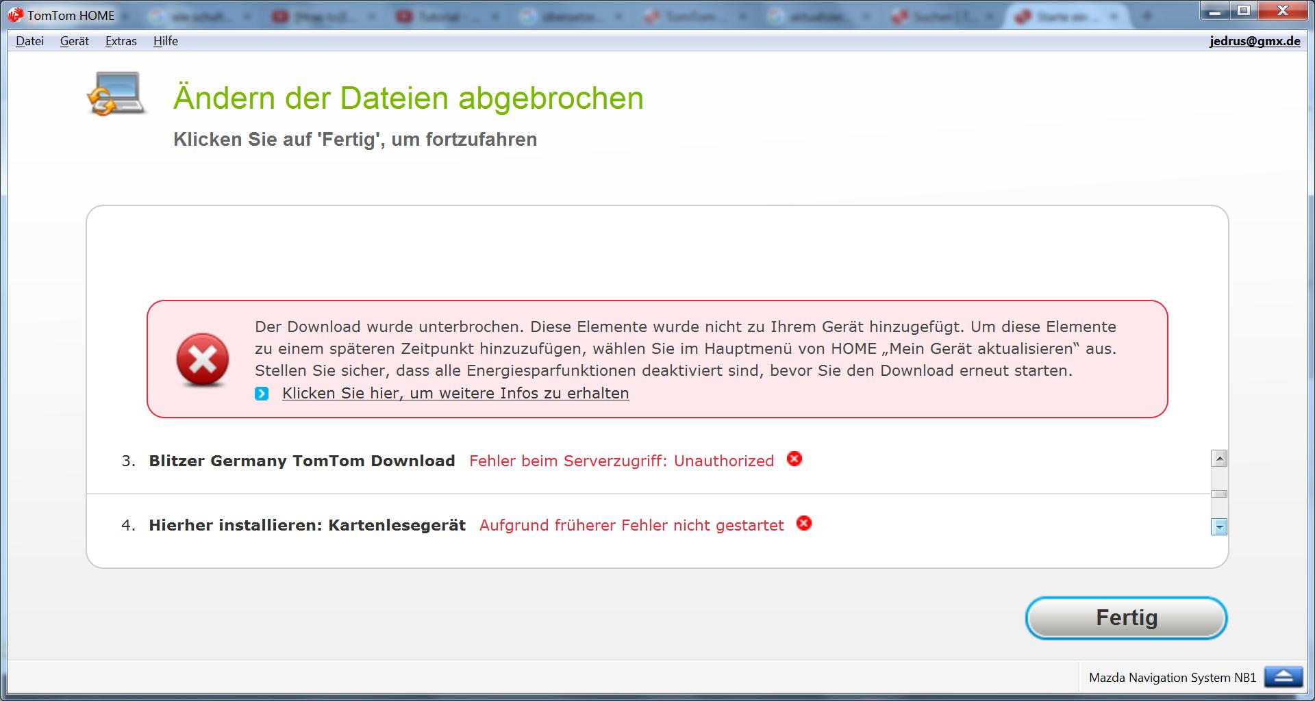 Fehler beim Serverzugriff : Unauthorized | TomTom Forum and Community