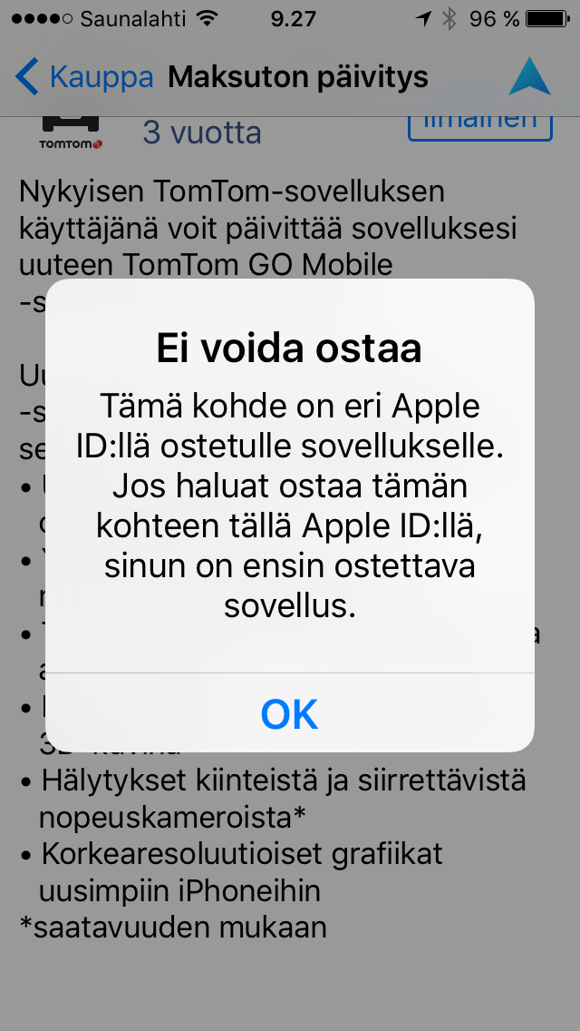 Problem in updating TomTom Europe to GO on iOS  | TomTom