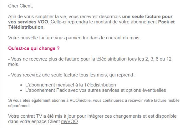 Facture abonnement télédistribution, parck et VOOmobile one | VOO